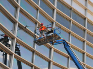 window washing a highrise